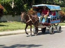 Alter rustikaler Wagen gezogen durch ein Pferd Lizenzfreie Stockbilder