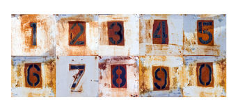 Alter Rusty Metal Number Signs Stockbilder