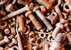 Alter Rusty Nuts- und Bolzen-Hintergrund Lizenzfreies Stockbild