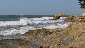 Alter Rusty Yellow Buoy Lies auf dem Ufer von Rocky Beach thailand Pattaya asien stock video