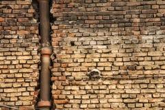 Alter Schmutz verwittertes brickwall mit keramischem Abwasserkanal Stockbilder