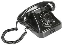 Alter schwarzer Bakelit-Telefon-Ausschnitt Stockfotos