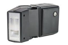 Alter schwarzer externer Blitz für die Kamera Stockbild