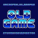 Alter Spielalphabetguß Pixelsteigungsbuchstaben und -zahlen Stockbild