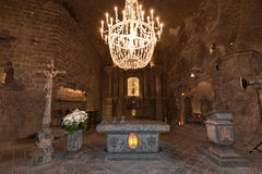 Alter in St. Kinga's Chapel inside Wieliczka salt mine in Poland Stock Images