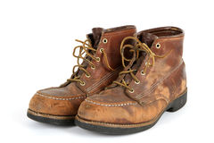 Alter Stahl Toed Schuhe stockfoto