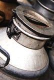 Alter Stahlmilchbehälter Stockfotos