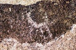 Alter Standort mit historischen Petroglyphen in Kirgisistan stockfotos