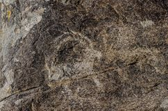 Alter Standort mit historischen Petroglyphen in Kirgisistan stockfotografie