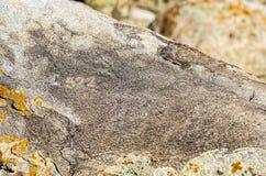 Alter Standort mit historischen Petroglyphen in Kirgisistan stockfoto