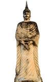 Alter stehender Buddha auf weißem Hintergrund Stockbilder