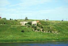 Alter Stein baut die Banken des Flusses von Volga fand lengthways in der Stadt von Staritsa ab Tver Region Russland Stockfoto