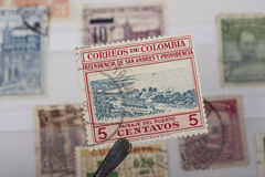 Alter Stempel von Kolumbien Stockfotos