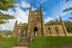 Alter Strafgefangene-Kirchen-Hafen Arthur Tasmania stockbilder