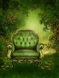 Alter Stuhl in einem grünen Garten stock abbildung