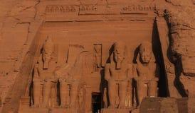 Alter Tempel Abu SImbel Ägypten-Sandstein Lizenzfreies Stockfoto