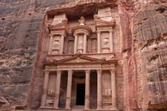Alter Tempel Al Khazneh Treasury PETRA, Jordanien Stockbild