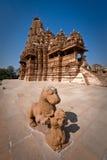 Alter Tempel bei Khajuraho Stockfotos
