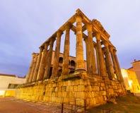 Alter Tempel in der Dämmerung Mérida, Spanien Lizenzfreie Stockbilder