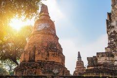 Alter Tempel des Ruinen-Ziegelsteines in Ayutthaya-Reise lizenzfreie stockfotografie