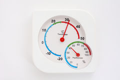 Alter Thermometer und Hygrometer. Stockbilder