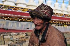Alter tibetanischer Mann Stockfotografie