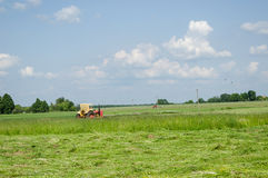 Alter Traktor schnitt Grassommertageslandlandschaft stockfotografie