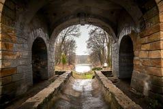 Alter Tunnel auf See und Wald Stockfoto