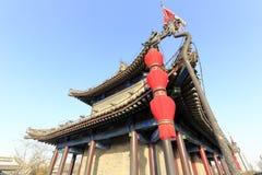Alter Turm auf der Xian-Stadtmauer, luftgetrockneter Ziegelstein rgb Stockfotos