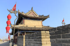 Alter Turm auf der Xian-Stadtmauer, luftgetrockneter Ziegelstein rgb Stockbild