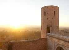 Alter Turm von Spello stockbild