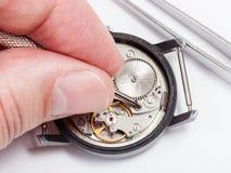 Alter Uhrabschluß der Uhrmacherreparaturen oben Lizenzfreie Stockfotos