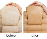 Alter und neuer Crannied Büro-Chef Chair (Lehnsessel) vorher und achtern Stockfoto