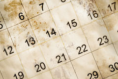 Alter und schmutziger Kalender Lizenzfreies Stockbild