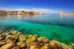Alter venetianischer Hafen von Chania auf Kreta Stockbilder