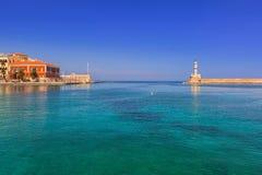 Alter venetianischer Hafen von Chania auf Kreta Stockfotos