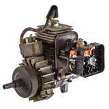 Alter Verbrennungsmotor, lokalisiert auf weißem Hintergrund Stockbilder