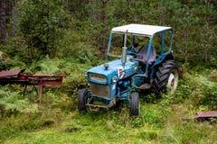 Alter verlassener und overgron blauer Ford-Traktor Stockfoto