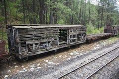 Alter Waggon entlang Durango und Silverton-Schmalspur-Eisenbahn-Dampf-Maschine bilden nahe Durango, Colorado, USA aus Stockbilder
