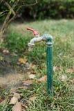Alter Wasserhahn im Garten lizenzfreies stockbild