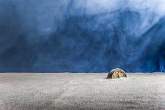 Alter Wecker auf Sand und blauem Hintergrund Stockfoto
