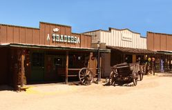 Alter Westcowboy Town Stockbilder
