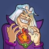 alter Zauberer, der einen Bann wirft Stockbild