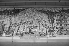 Alter Ziegelstein und japanische Art in der Wand stockfotografie