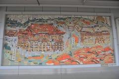Alter Ziegelstein und japanische Art in der Wand stockbild