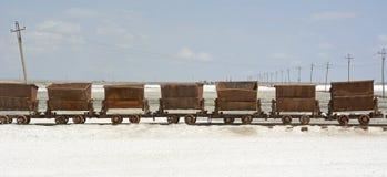 Alter Zug in Chaka Salt Lake Stockbild