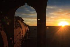 Alter Zugkirchhof bei Sonnenuntergang Stockfotografie