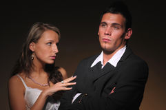 The altercation of the two young attractive people Stock Photos