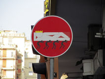 Altered No Entry sign. A creatively altered No Entry sign on the street of Naples, Italy Royalty Free Stock Photo