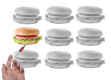 Altered sandwich with syringe. Among other black and white sandwiches Royalty Free Stock Images